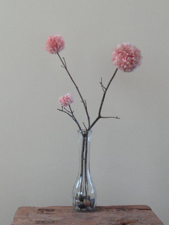 Dusty Rose  Pom Pom Flowers  Weddings  Pink by BlueRidgeMercantile, $17.00