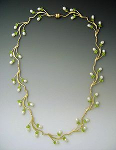 """Pearl & Peridot Branch Necklace""  Gold, Pearl & Peridot Necklace  Created by Ellen Vontillius"