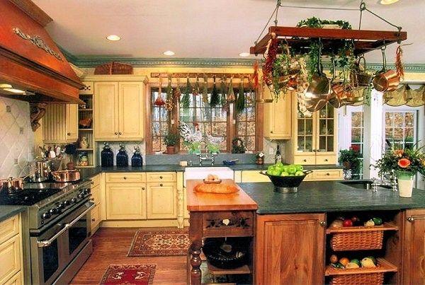 Cucine stile country - Cucina country, arredamento verde giallo e ...