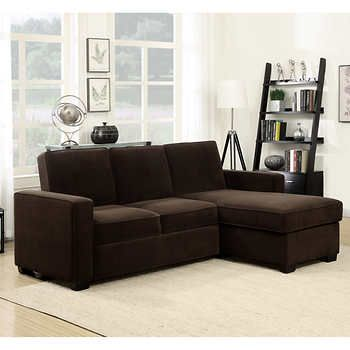 Kayden Fabric Sleeper Chaise Sectional Dark Brown