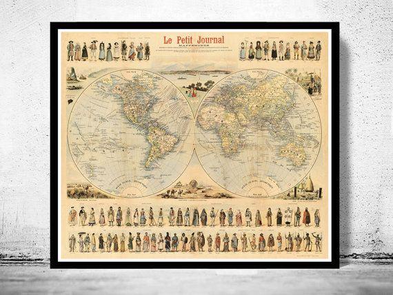 Vintage World Map Antique Atlas 1900 folklore map by OldCityPrints - new antique world map images