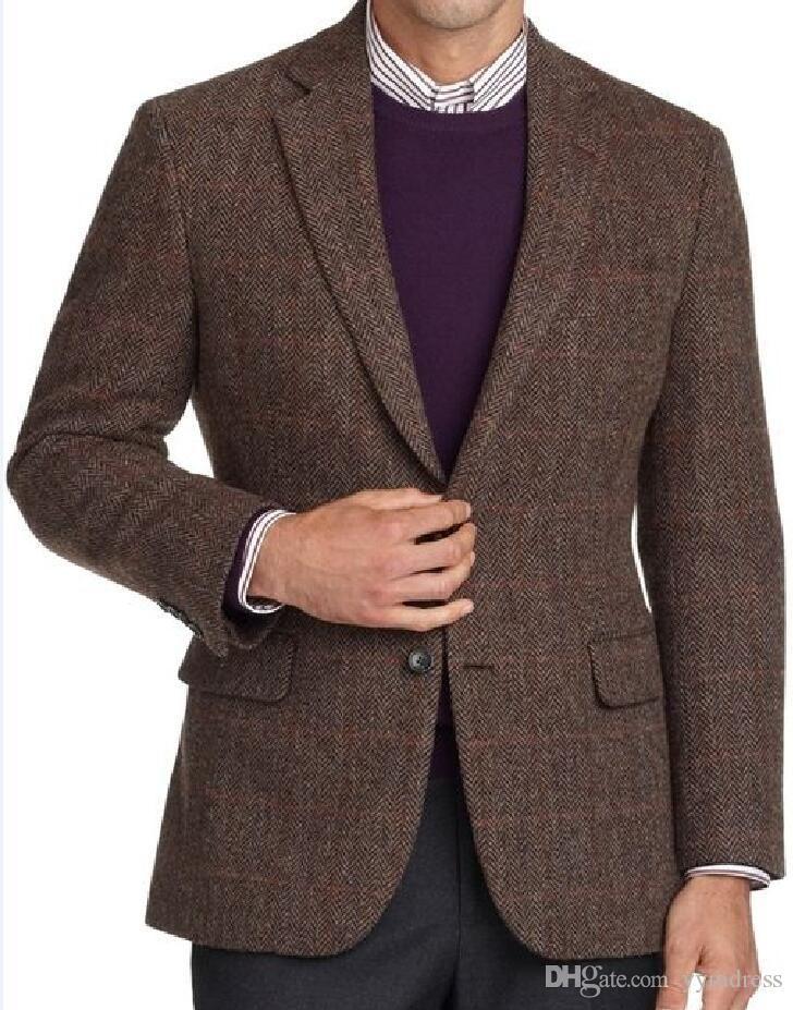 Brown Wedding Tuxedos 2019 Notched Lapel Best Man Suit