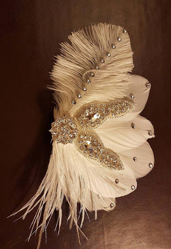 BRIDAL FEATHER FASCINATOR. 1920s Gatsby feather fascinator,Feather Headpiece, Sparkly Feather Hair Piece,Wedding Hair Accessory, Fascinator