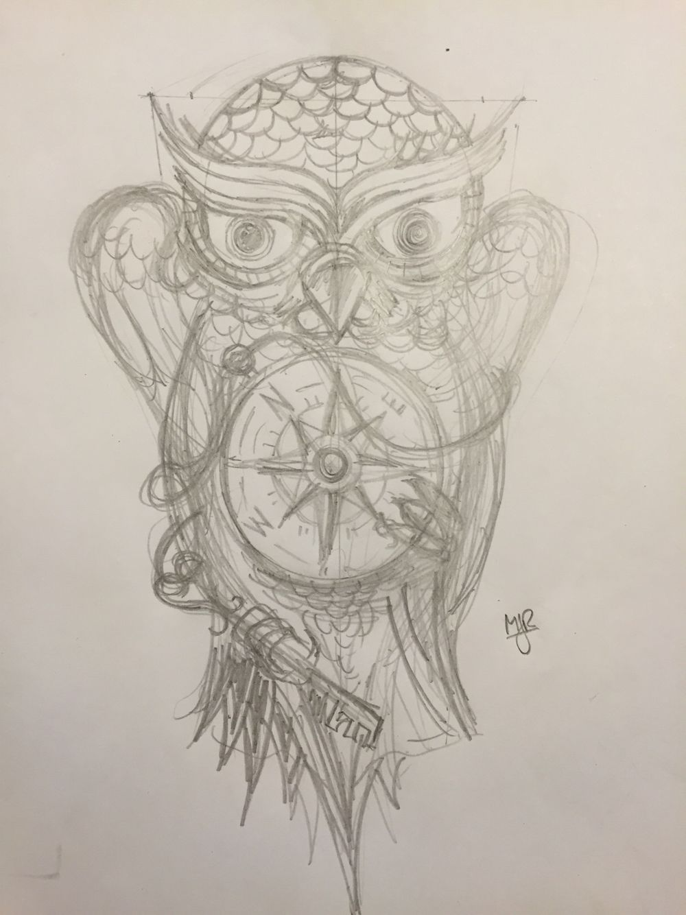 Owl Tattoo With Compass And Key Sketch By Maxjr Owl Tattoo Tattoos Floral Tattoo Sleeve