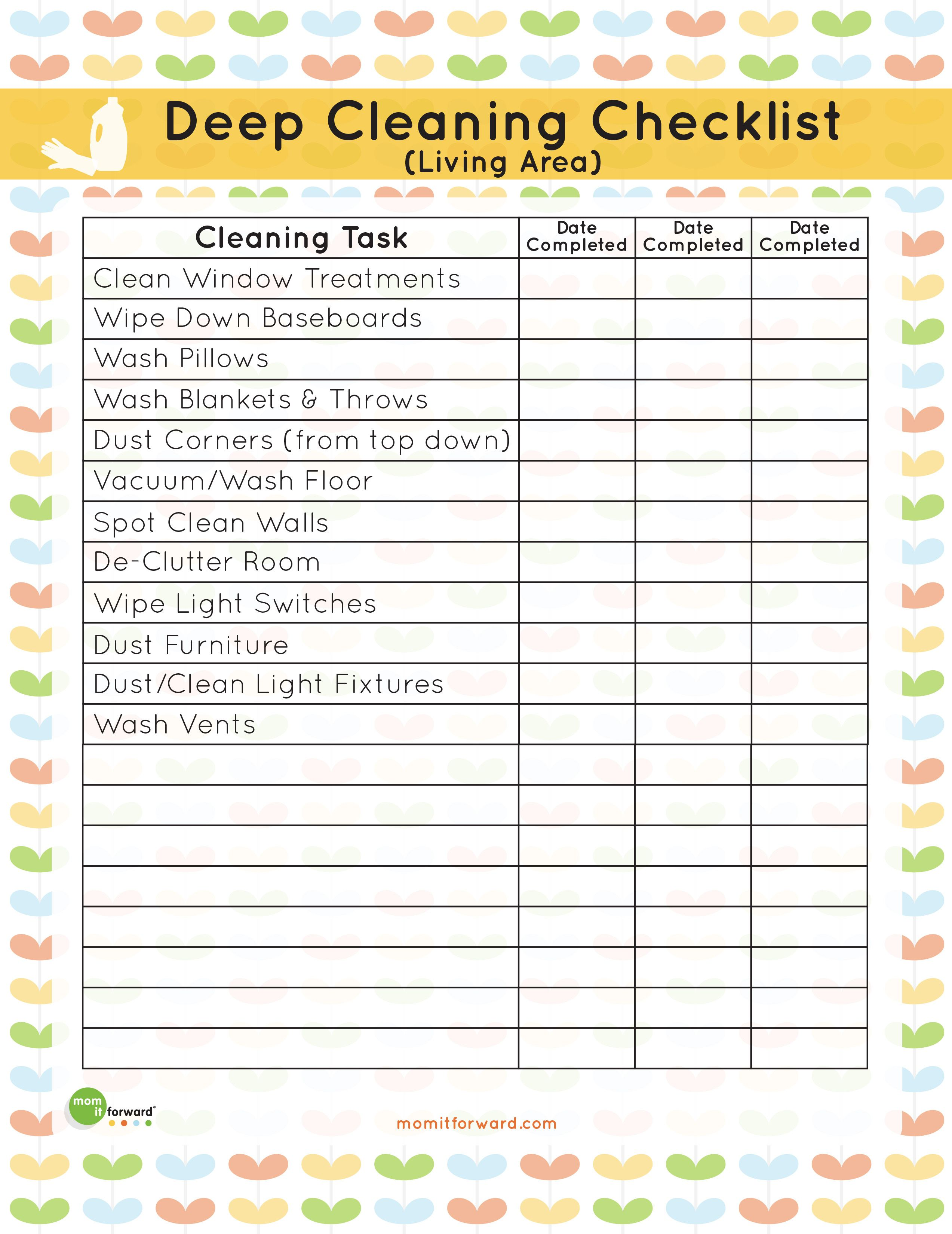 Printable Living Area Deep Cleaning Checklist Clean