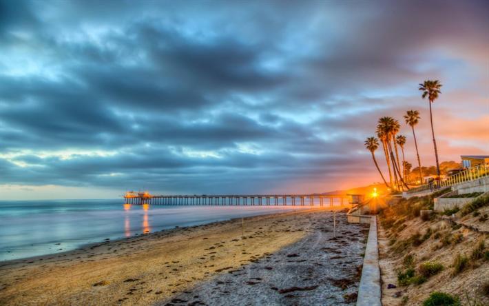 Scarica Sfondi San Diego Molo Mare Costa Tramonto America Usa