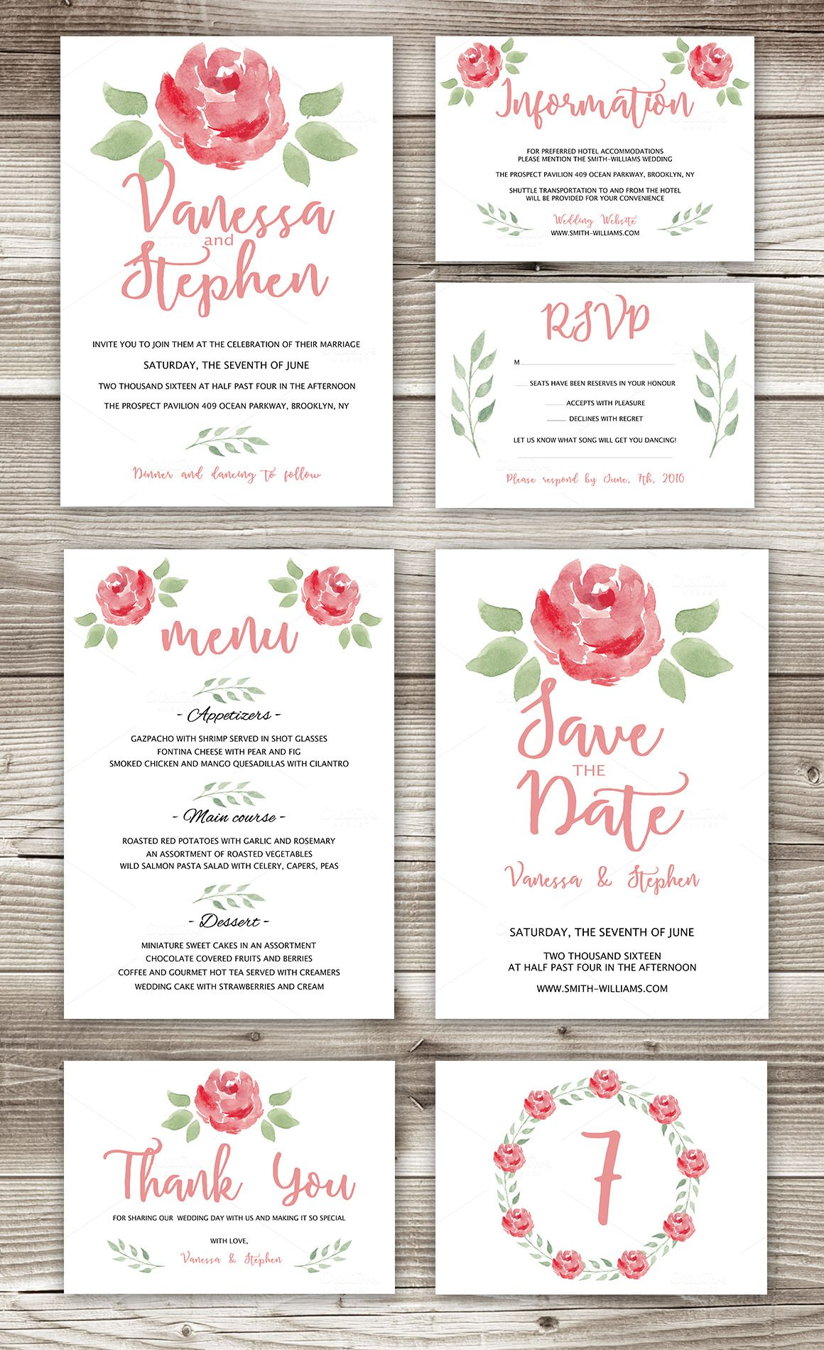 Wedding Invitations Pack 7 cards Rsvp Template and Reception