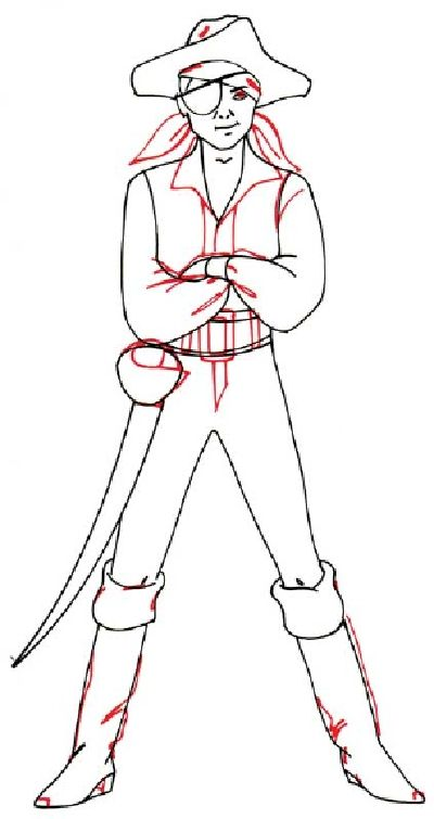 how to draw a boy in a pirate costume in 5 steps