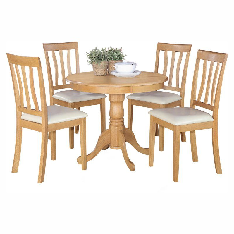 East West Furniture Antique 5 Piece Pedestal Round Dining Table Set with Faux Leather Seat - ANTI5-