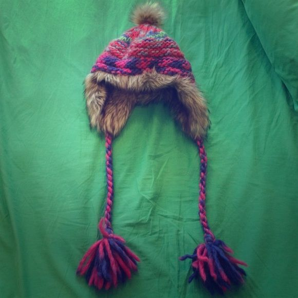 AE Cozy Trapper Hat Very colorful knit trapper hat from American Eagle Outfitters! Very thick and warm. Perfect for keeping your head nice and cozy! In like new condition. American Eagle Outfitters Accessories Hats