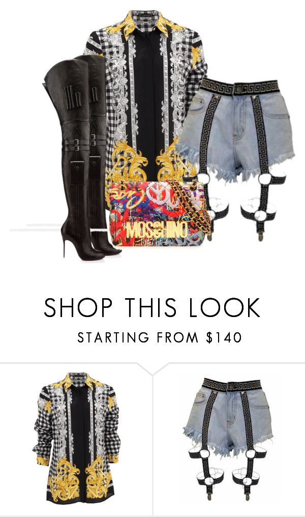 """Untitled #209"" by piinkdreamss ❤ liked on Polyvore featuring Versace, Christian Louboutin and Moschino"