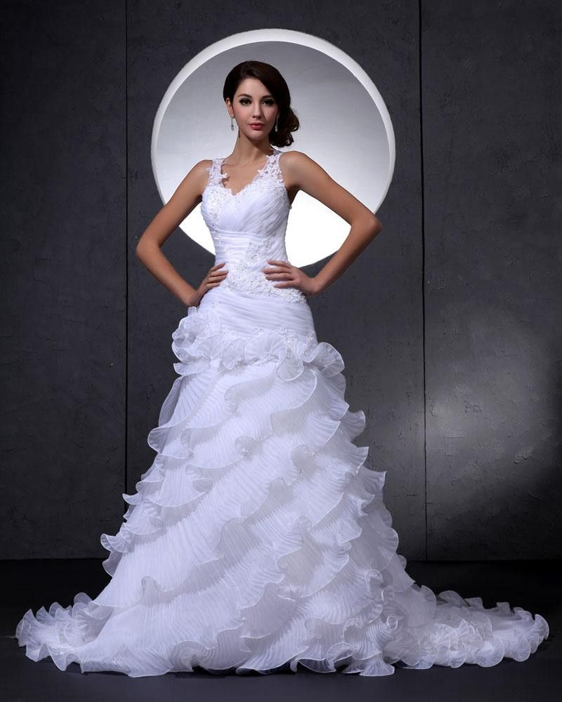 Lace mermaid wedding dress with cathedral train  Elegant Lace Organza VNeck Flower Beading Cathedral Train Mermaid