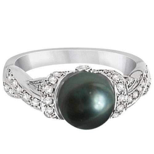 Freshwater Cultured Black Pearl & Diamond Ring 14K W. Gold 8mm - Allurez.com