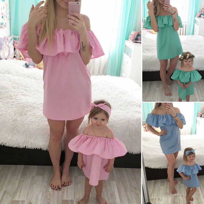 Summer Dress Family Dresses Mother Daughter Matching Baby Girl Dress Clothes Set