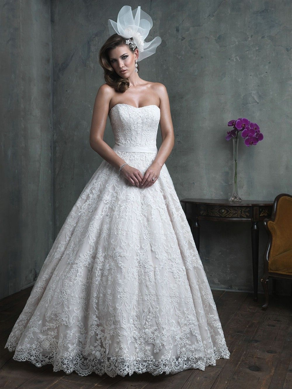 The perfect romantic lace ballgown allure couture wedding dresses