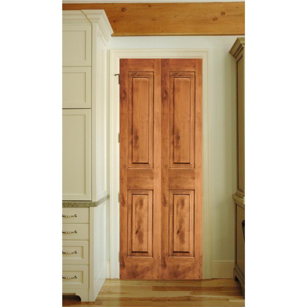 Krosswood doors in  rustic knotty alder panel square top solid core unfinished wood interior bi fold door ka bf the home depot also rh pinterest