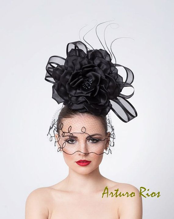 Black Couture Fascinator Cocktail Hat with Vintage by ArturoRios, $220.00
