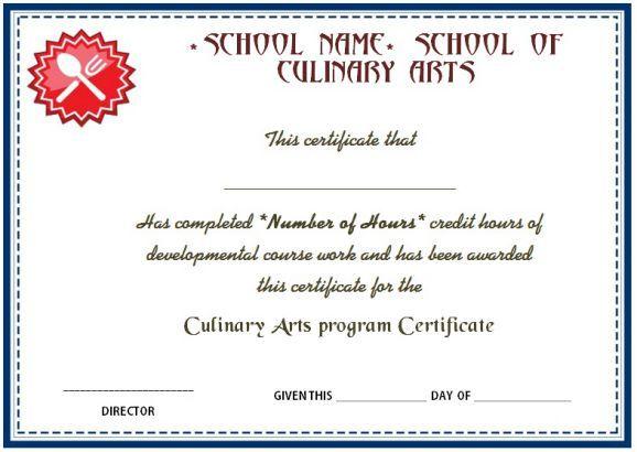 Culinary Arts Program Certificate   Cook Certificate   Pinterest ...