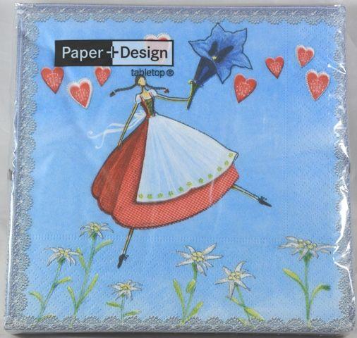 Tovaglioli di carta fata alpina con cuori su fondo azzurro nordici 20 pz by c c - Tovaglioli di carta decorati ...