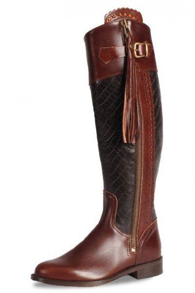 bc7d1f22d45 Bottes équitation cuir bordeaux et croco
