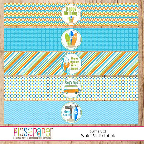 Surf Theme Birthday Party Kit With Surfboard Beach Van Cupcake