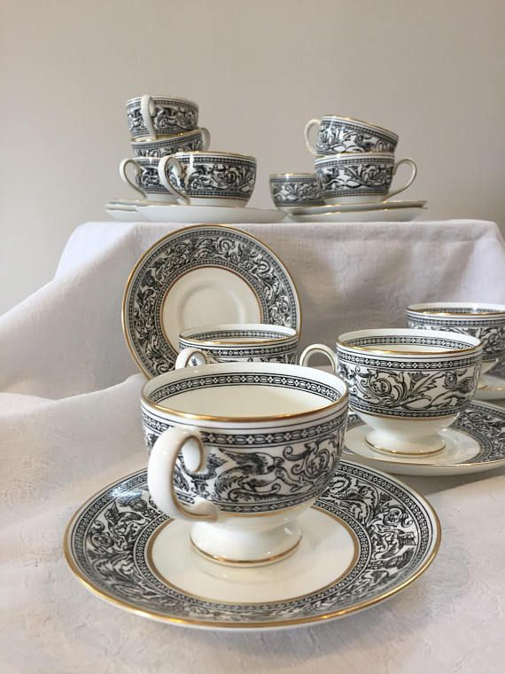 Beautiful teacups and saucers porcelain English Wedgwood formal bone china dinnerware in Wedgwoods Black Florentine & Beautiful teacups and saucers porcelain English Wedgwood formal ...