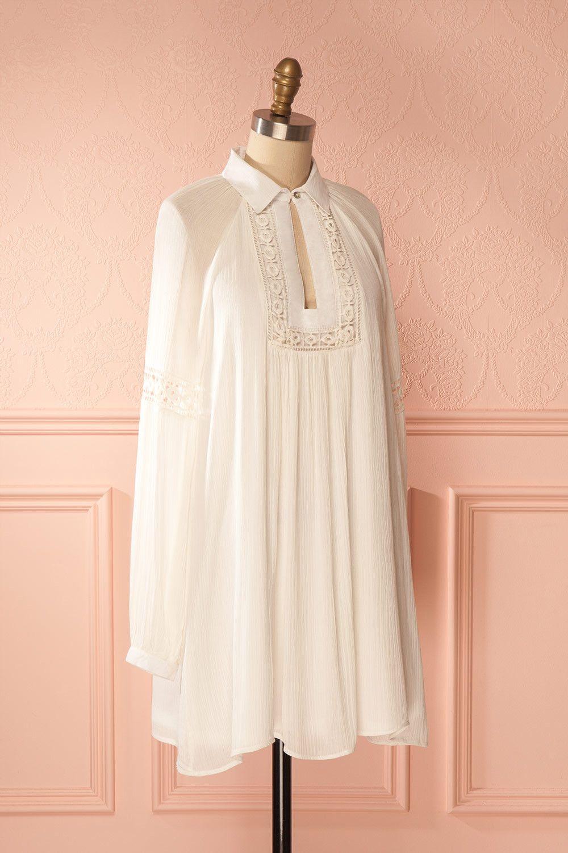 Madhuparna - Ivory shirt summer dress