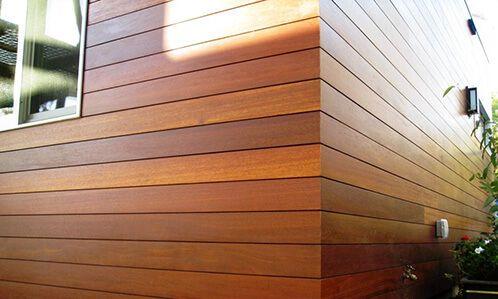 Mangaris And Ipe Siding Beautiful Modern Look Ipe Siding Ipe Hardwood Siding Has The Sam Wood Siding Exterior Exterior Panel Siding Exterior Wood Siding Panels