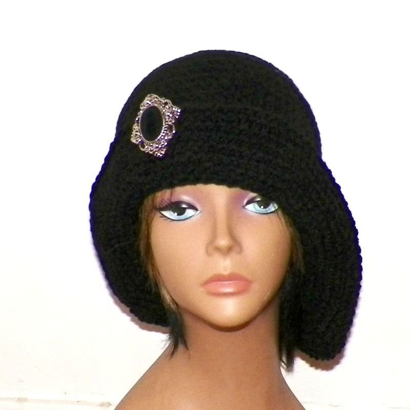 Black Cloche Hat Flapper Womens Button Downton Abbey Freeform Beanie