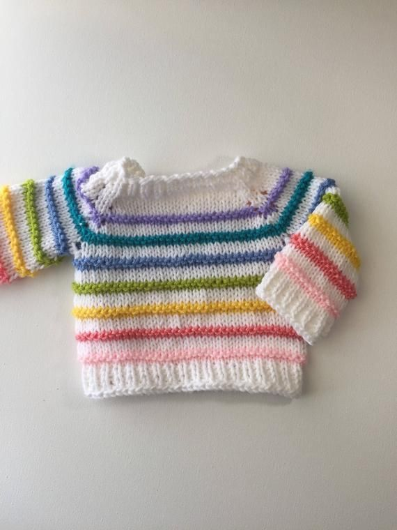 Knit Rainbow Baby Sweater, also avaliable in Toddler size ...