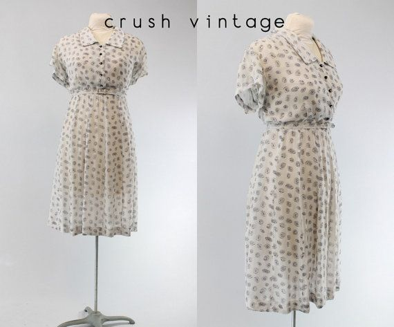 30s Sheer Gown XL XXL / 1930s Novelty Gown / by CrushVintage, $64.00