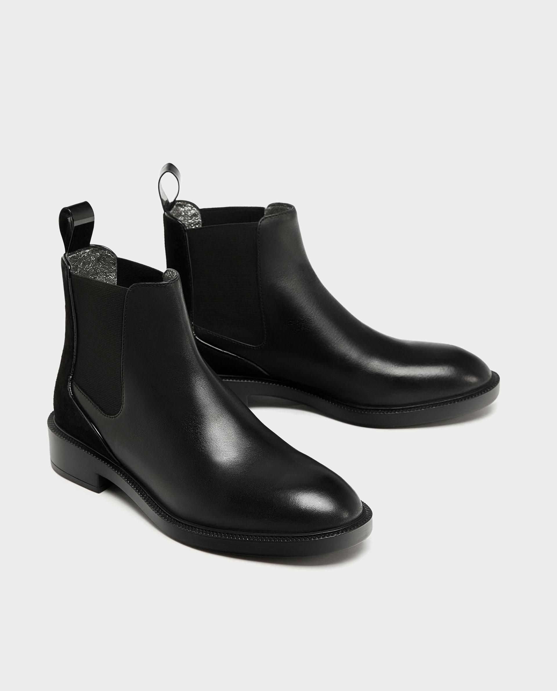 Flat Leather Chelsea Boots from zara - 69.90 USD
