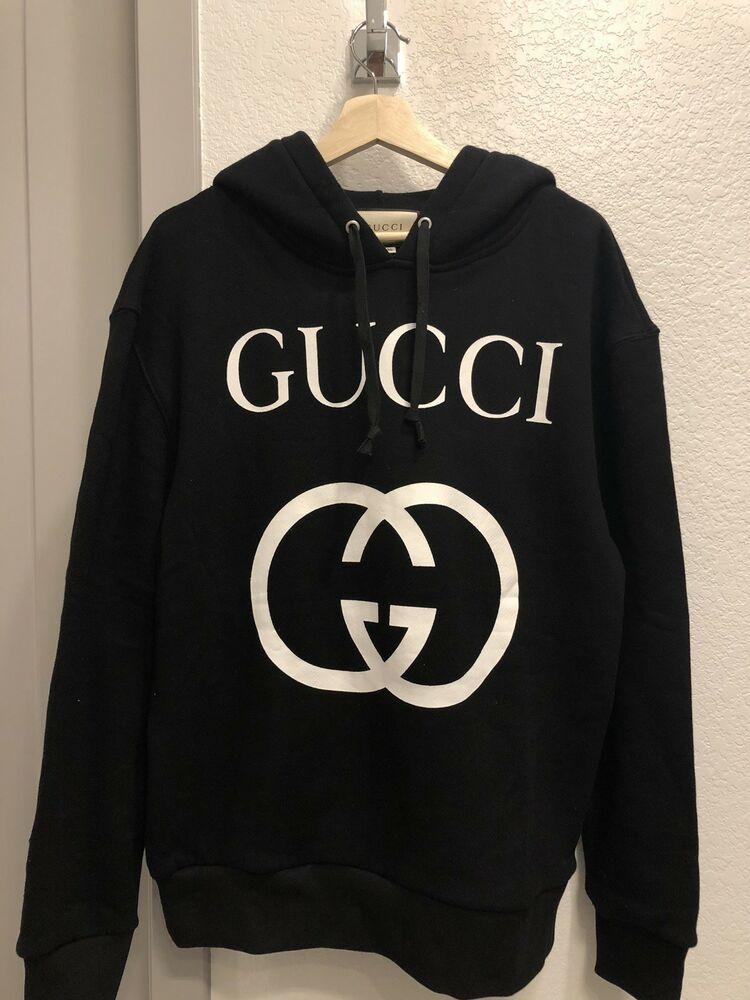 vivid and great in style top-rated hot new products Gucci Hooded Sweatshirt With Interlocking G Black Size S NEW ...