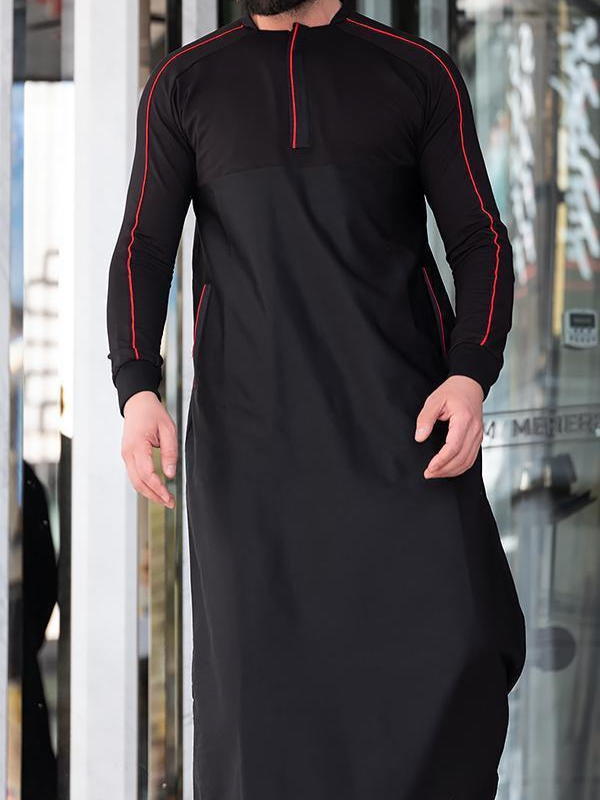 QL QT Thobe Kameez with long sleeves in Black is part of Kurta men - QL QT Thobe Kameez with long sleeves Collar with Zip & Long Sleeves Soft fabric & gentle on skin Logo Embroidery, Side Pockets  Islamic Clothing for Men