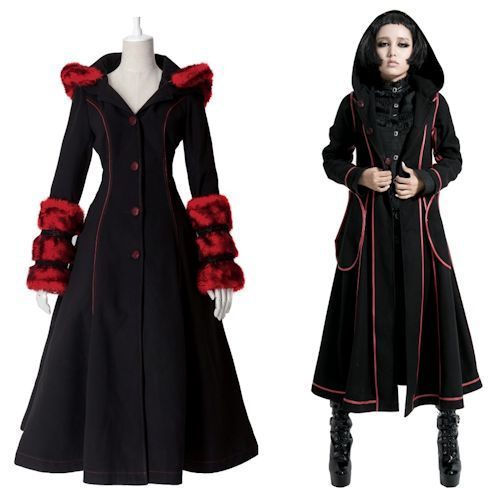 Designer Black and Red Long Goth Fashion Coats and Jackets Women ...