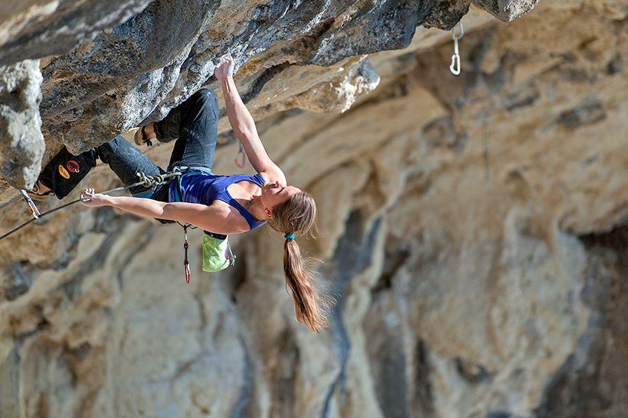 Anna Stor climbing in Pandora crag in Istria, Croatia