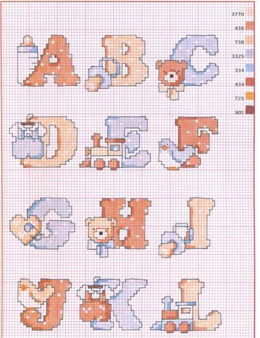 Schema 7 alfabeti cross stitch alphabet samplers for Ricamo a punto croce lettere alfabeto