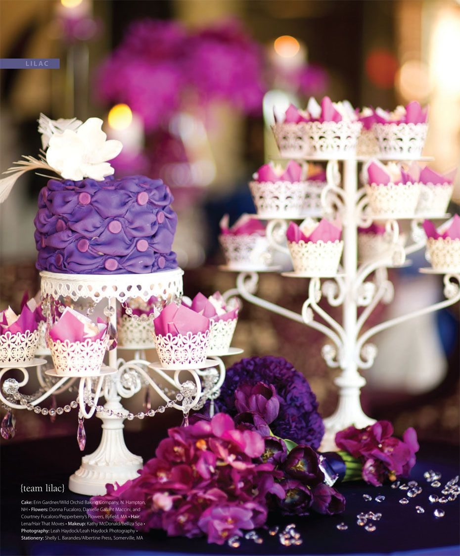 Purple Wedding Dessert Table: A Purple, Lilac And Pink Dessert Table With Deep Pink