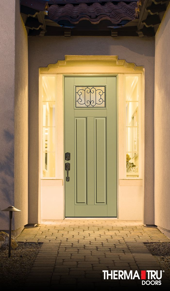 Therma tru 8 39 0 smooth star fiberglass door painted for Therma tru front door