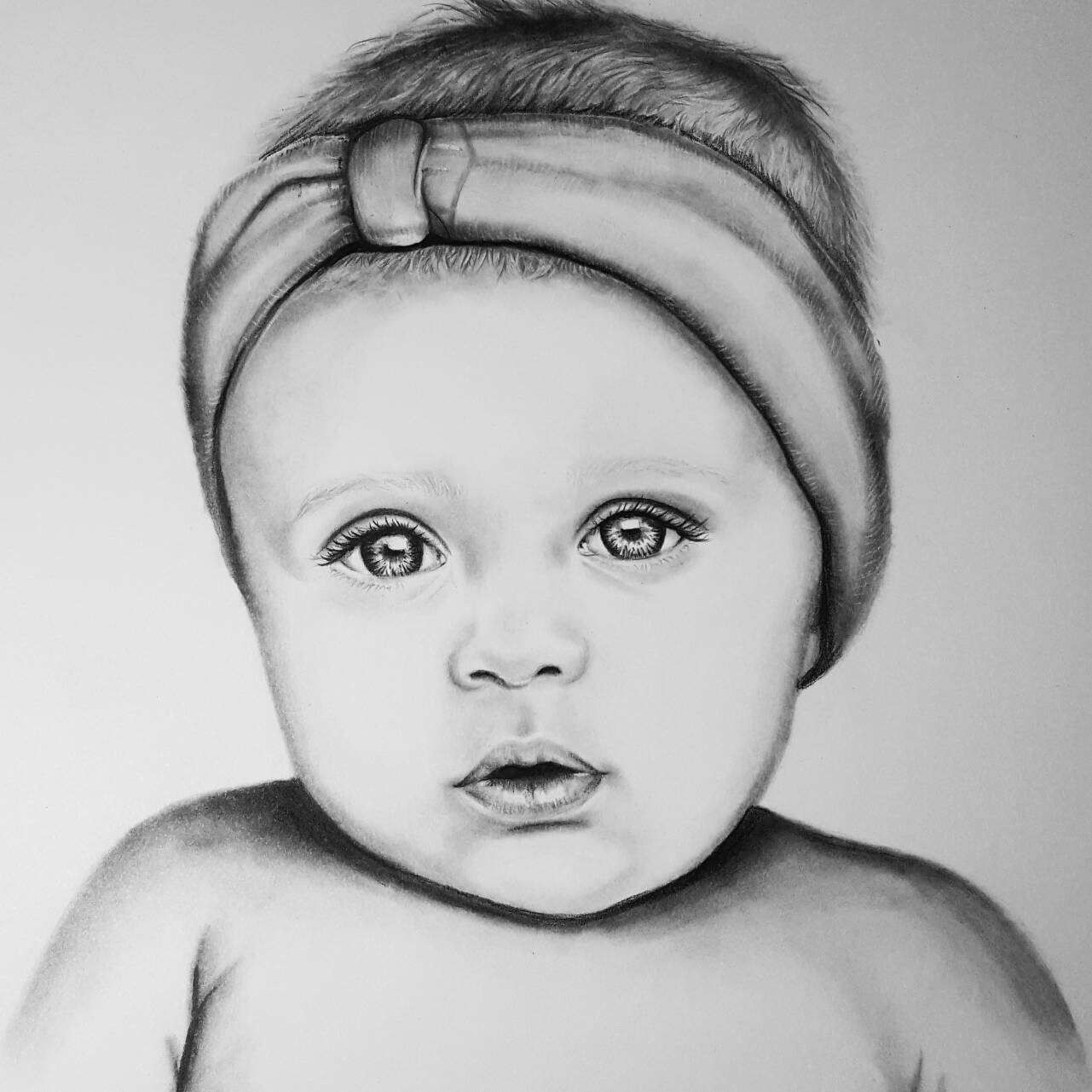 Custom baby portrait. Drawing. Commission. Baby drawing ...