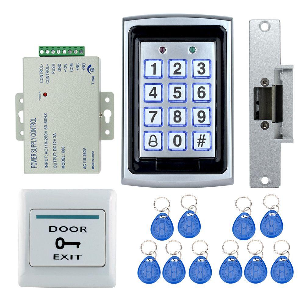 Access Control System Kit Set 7612 Model Metal Keypad Electric Strike Lock Power Supply Exit Button 10 Rfid K Access Control System Access Control Digital Lock