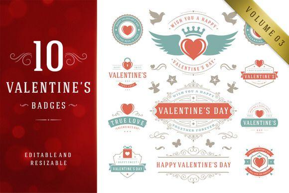 ValentineS Day Logo Badges  Labels By Vasya Kobelev On Creative