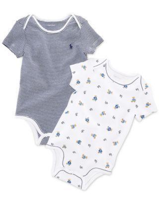 Ralph Lauren Baby Bodysuit, Baby Boys Print Bodysuit 2 Pack