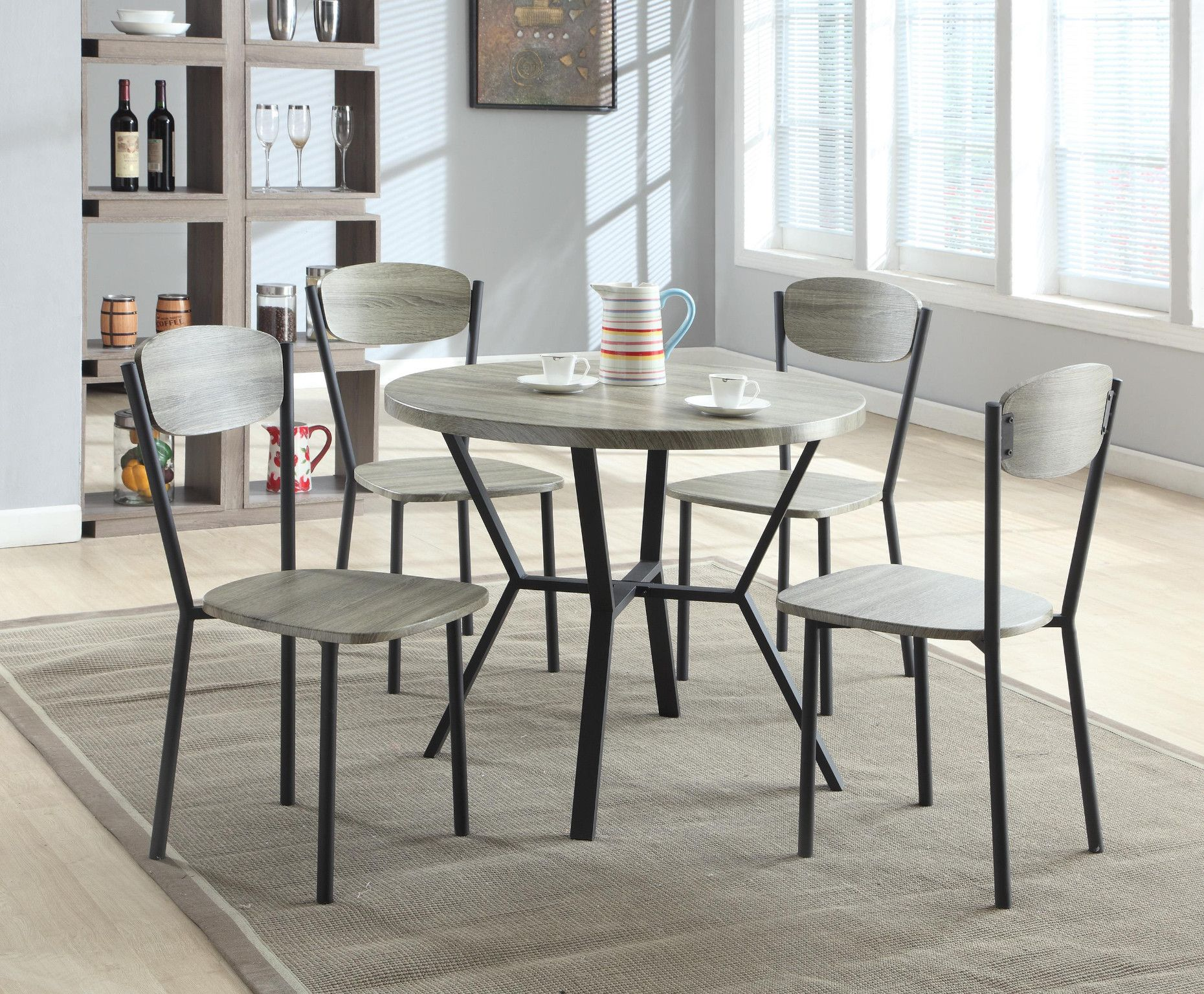 Blake 5 Piece Dinette Table And 4 Chairs 299 00 Table 35 2 Dia X 30 H Cha Grey Round Dining Table Round Dining Table Sets Round Wood Dining Table