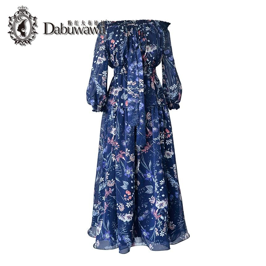 e3fd3f4e8751 Dabuwawa Dark Blue Autumn Vintage Dress 3/4 Sleeve Off Shoulder Floral  Print Chiffon Dress. Yesterday's price: US $55.20 (48.42 EUR).