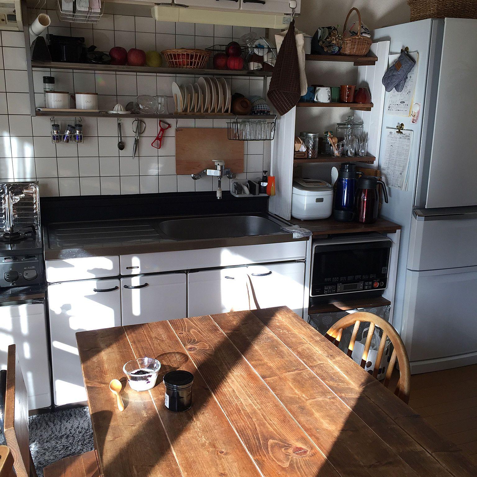 机 アパート暮らし 2dk 賃貸 賃貸暮らし 賃貸アパート などのインテリア実例 2017 11 17 09 06 30 Roomclip ルームクリップ キッチンレイアウト インテリア キッチンデザイン
