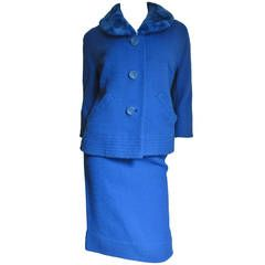 1950's Royal Blue Skirt Suit W Dyed to Match Fur Collar