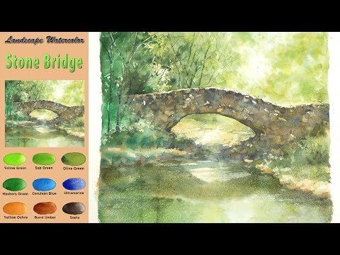 Sans Croquis Aquarelle Paysage Pont De Pierre Wet In Wet