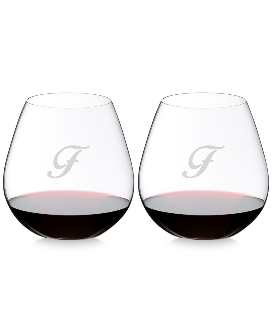 Riedel O Monogram Collection 2 Pc Script Letter Pinot Noir Stemless