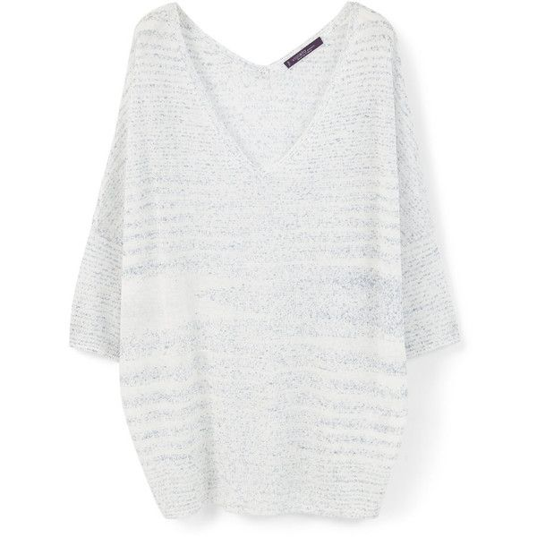 Violeta BY MANGO Fine-Knit Striped Sweater ($70) ❤ liked on Polyvore  featuring